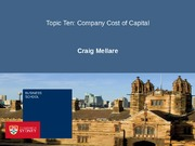 Topic Ten - Company Cost of Capital