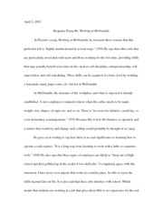 Response Essay #6­ Working at McDonalds