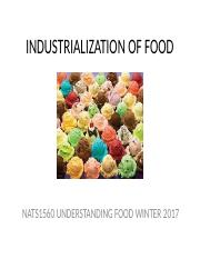 7 INDUSTRIALIZATION OF FOOD