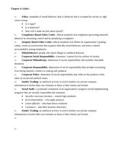 BUS 1000 Chapter 4 - Ethics Notes