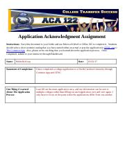 Application Acknowledgment Assignment