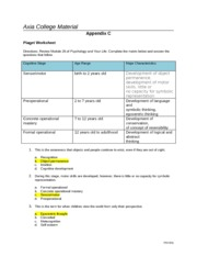 Piaget Worksheet