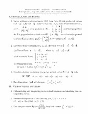 Vectors, Lines, and Planes notes