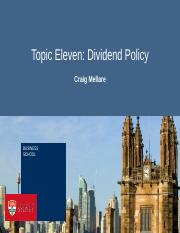 Topic Eleven - Dividend Policy
