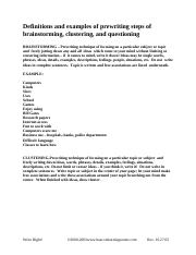 examples of prewriting of brainstorming, clustering and questioning .pdf
