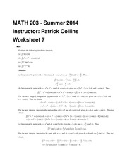MATH 203 Summer 2014 Tutorial 7 Solutions