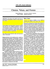 Kahneman Tversky 1984 AP Choices, values, and frames