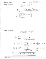 Math 122 Quiz 1 Version 2 Solutions
