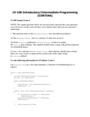 15100 Introductory Programming Practice Exam 4
