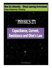 Capacitance, Current, Resistance and Ohm's Law