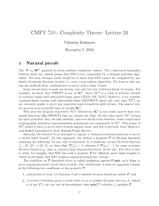 CMPT 710 Natural Proofs Notes
