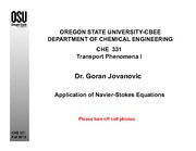 Lecture 24 on Application of Navier-Stokes Equations