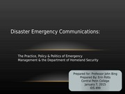 Disaster Emergency Communications.Potts