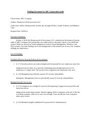 Findings Document for ABC Corporation Audit- Group 1