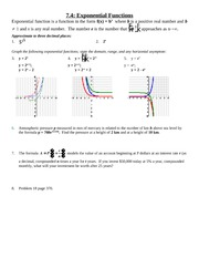 Study Guide on Exponential Functions