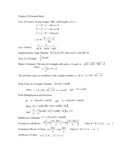 Formula Sheet for Chapter 10 exam