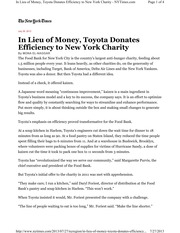 Article - Toyota applies LSS to Food Bank
