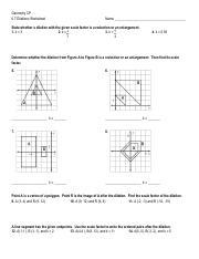 Dilation Worksheet GB pdf - Geometry CP 6.7 Dilations Worksheet ...