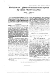 Limitations on lightwave communications imposed by optical-fiber nonlinearities