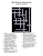 Nutritional Genomics Crossword Puzzle_Answer Key