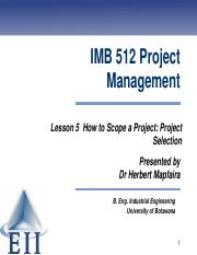 Lesson 5 How to Scope a Project - Project Selection.pdf