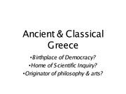 Chapter 3 and 4 Ancient & Classical Greece Revolution