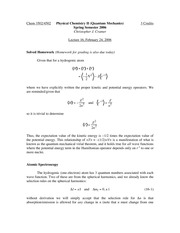 Lecture 16 on Quantum Mechanics