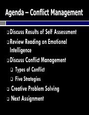 ENGI 315 Fall 2016 Class 4A Managing Conflict