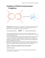 Synthesis of Metal Acetylacetonate Complexes (2)