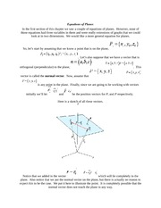 Calculus Equations of Planes