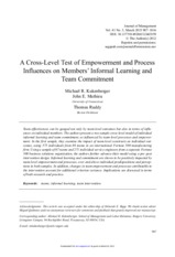 A Cross-Level Test of Empowerment and Process Influences.full