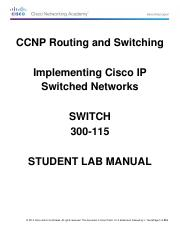 CCNP Switch V7 Student Lab Manual pdf - CCNP Routing and