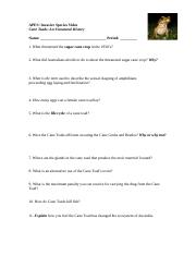 APES_Cane_Toad_Video_Questions docx - APES Invasive Species