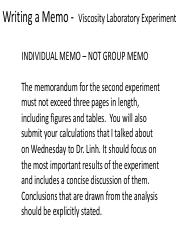 Presentation on what goes into a Memo