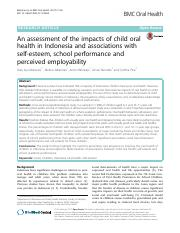 An Assessment of the impacts of child oral health in Indonesia and associations with self-esteem, sc