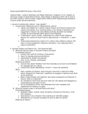 Study Guide KNH276 Exam 2 Fall 2015