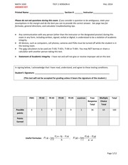 Answer Key Test 2 Version A Fall 2014