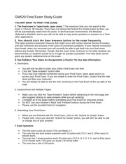 GM520 Final Exam Study Guide 2011