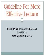 Guideline for more effective lecture