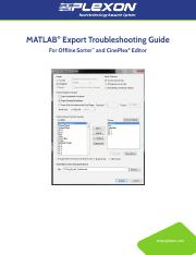 MATLAB-Export-Troubleshooting-Guide pdf - MATLAB® Export