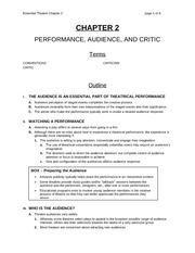 Chapter 2 Lecture on Performance, Audience Critic