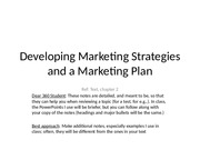 Ch 2. Developing Marketing Strategies and a Marketing Plan