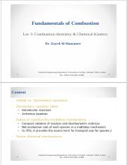 Lec 3-Combustion chemistry and Chemical Kinetics