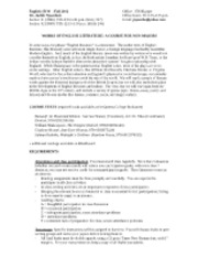 Eng 151W (Works of English Lit.) - syllabus - Fall 2012