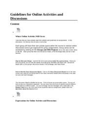 Guidelines for Online Activities and Discussions