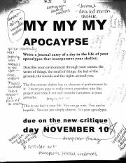Apocalypse project notes