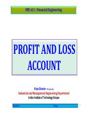 IME611 - 3.1.2 Profit and Loss Account