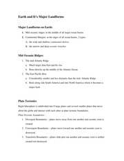 Earth and It's Major Landforms Notes