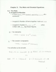 chem 123 the mole and chemical equations notes