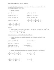 Practice Problems Math Skills for Business Diagnostic Test